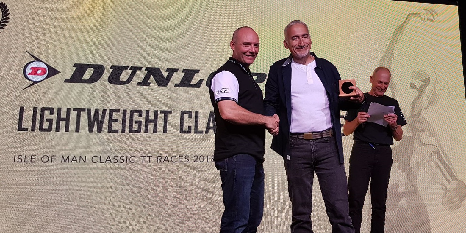 Collecting 2018 Classic TT Lightweight finishers medal from Keith Amor
